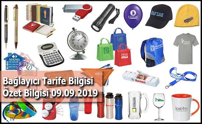 Bağlayıcı Tarife Bilgisi Özet Bilgisi 09.09.2019