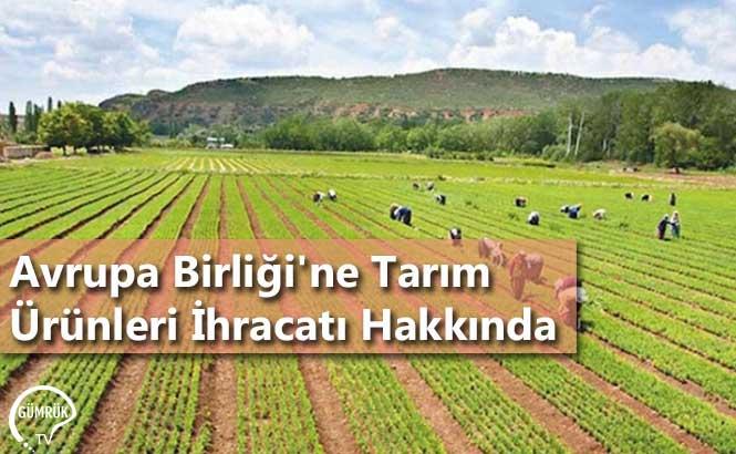 Avrupa Birliği'ne Tarım Ürünleri İhracatı Hakkında
