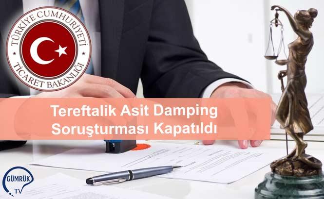 Tereftalik Asit Damping Soruşturması Kapatıldı