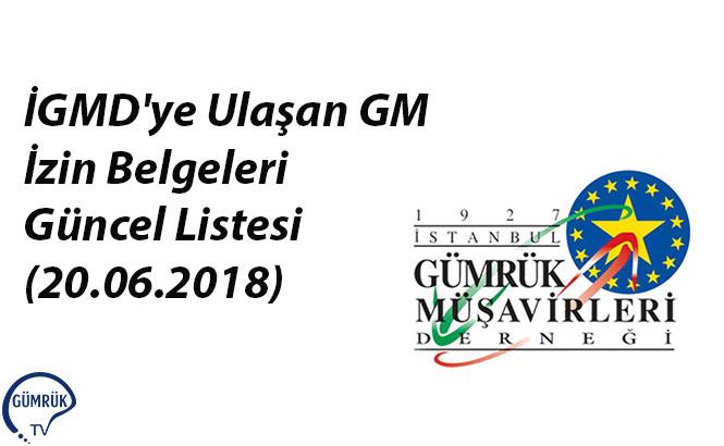 İGMD'ye Ulaşan GM İzin Belgeleri Güncel Listesi (20.06.2018)