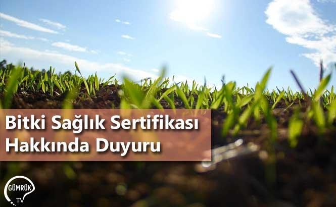 Bitki Sağlık Sertifikası Hakkında Duyuru