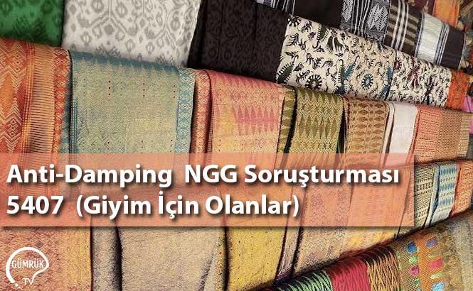Anti-Damping  NGG Soruşturması 5407 Giyim İçin Olanlar