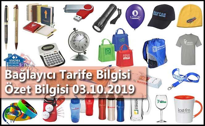 Bağlayıcı Tarife Bilgisi Özet Bilgisi 03.10.2019