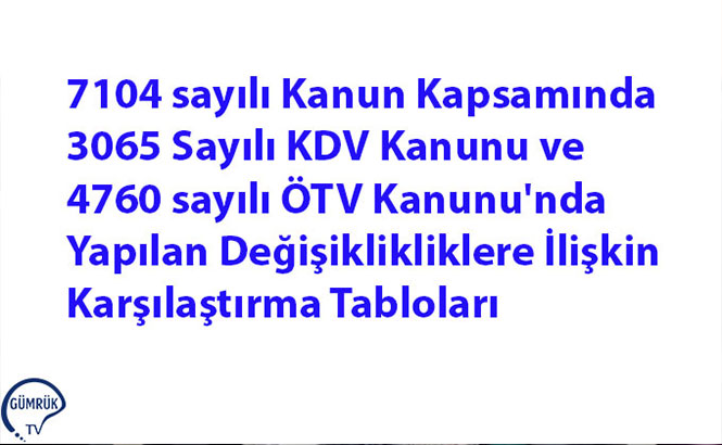 7104 Sayılı Kanun Kapsamında 3065 Sayılı KDV Kanunu ve 4760 Sayılı ÖTV Kanunu'nda Yapılan Değişikliklere İlişkin Karşılaştırma Tabloları