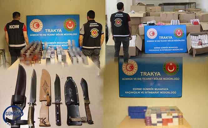Edirne'de Gerçekleştirilen Operasyonda On Binlerce Kaçak Ticari Eşya Yakalandı